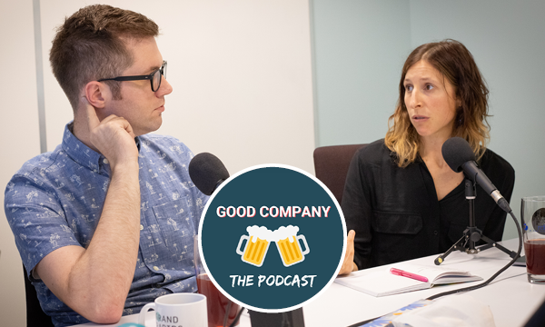 Good Company: The Podcast logo over a photograph of the guests jori bennett and kevin buist